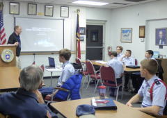 Marc Fusco talking to Tar River Composite Squadron members